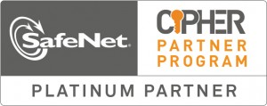 Logo van SafeNet Cipher Partner Program en SafeNet Platinum Partner